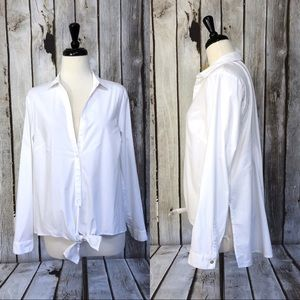 J Jill White Shirt Collection Tie Front Blouse